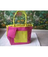 LIZ CLAIBORNE Pink/Yellow Canvas Patent Handbag Satchel Bag Purse w/ Wallet - $38.61
