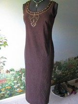 Jessica Howard Women's Brown Beaded Neckline Sleeveless Long Dress SZ 8 - €31,39 EUR