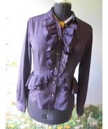 Runway Love Moschino Purple Polka Dot Ruffled Blouse / Top SZ 10 Made in... - $138.59