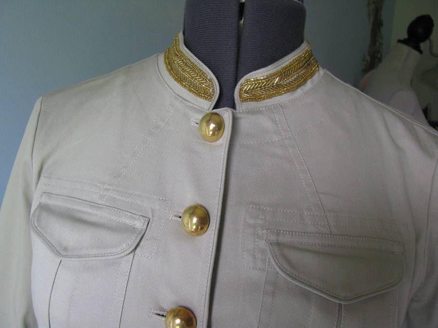 MICHAEL Michael Kors Putty, Military Blazer Jacket SZ6 NWT