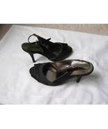 Dressbarn Black Satin High Heel Pumps Shoes Sandal 7W New - $29.69