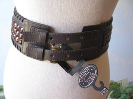 Steve Madden Brown Faux Leather Elastic Beaded Belt NWT SZ S/M - $30.70