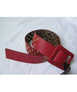 BETSEY JOHNSON Red/Gold Faux Leather Square Buckle Belt SZ M/L NWT - $56.42
