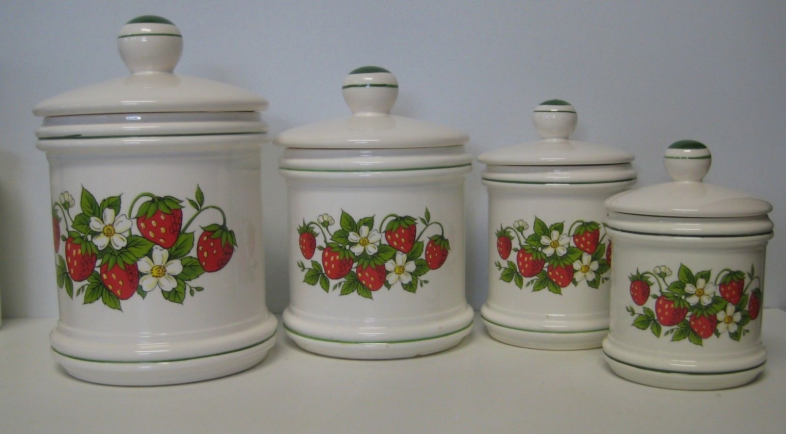 sears strawberry country kitchen canister set 4 total made