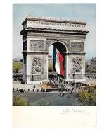 France Paris Arc de Triomphe French Flag Vintage 1965 Albert Monier Post... - $5.69
