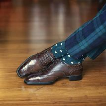 Handmade Men's Chocolate Brown Wing Tip Heart Medallion Dress Leather Shoes image 1