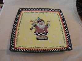 """10.25"""" Square Hand Painted Ceramic Platter, Santa Claus Is Coming To Town - $39.60"""