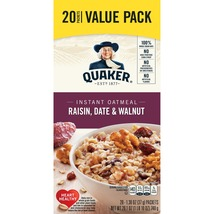 Quaker Instant Oatmeal, Raisin, Date & Walnut Value Pack, 20 Packets - $10.00