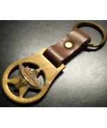 Marlboro Key Ring Solid Brass Five Point Star with Steer Head and Brown ... - $8.99