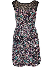 Betsey Johnson Womens Black Multi Lace Neckline Floral Lined Dress FY02W85-10 - $47.99