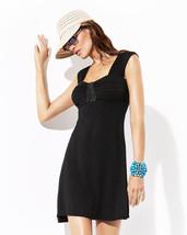 Badgley Mischka Womens Claudia Pleated Black Dress Bead Detail Coverup M... - $59.99