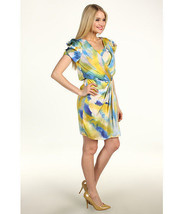 Vince Camuto Womens Tie Dye Yellow Blue Draped Front Lined  Dress 8  VC2... - $31.99