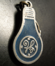 GE Light Bulb Key Chain Light Bulb Shaped Steel Colored Metal with Blue Enamel - $7.99
