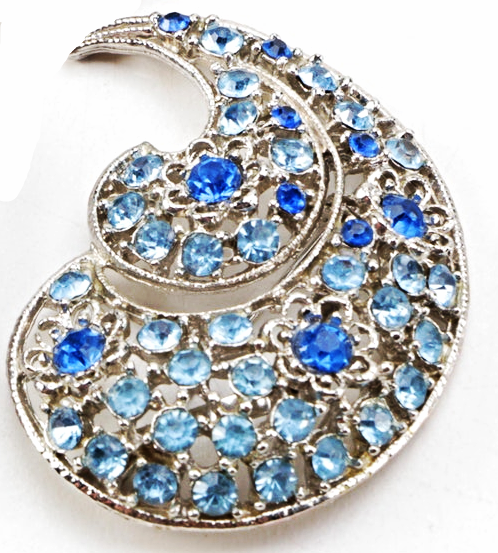 Primary image for Large Blue Rhinestone Swirl Brooch Pin Silver Tone