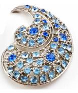 Large Blue Rhinestone Swirl Brooch Pin Silver Tone - $39.79