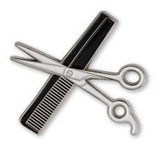 High Quality Hand Made Shear & Comb Lapel Pin w/Beautiful Clear Finish - $9.99