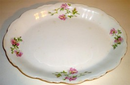 ANTIQUE Antique Platter, Pink & Yellow Roses, Scallop Rim,  Salem China ... - $42.14