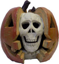 """Gerson 11"""" Resin Lighted Double Face Pumpkin Skull with Light & Sound Ha... - $54.99"""