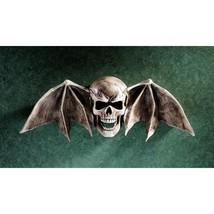 Macabre Tombstone Art Winged Skull Bat Halloween Decoration Wall Sculptu... - £63.49 GBP