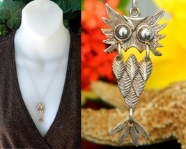 Vintage Sterling Silver Owl Bird Articulated Pendant Necklace Ferrara - $31.95