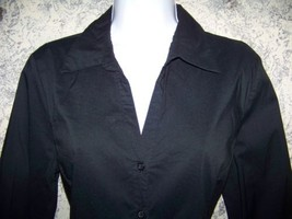 Black stretch OLD NAVY Perfit Fit 3/4 button down v-neck lightweight blo... - $27.55
