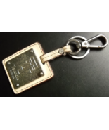 Tignanello Key Chain Metal Plaque on Two Tone Brown Leather with Belt Ba... - $6.99