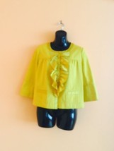 Pre-owned JCREW Marigold Yellow 100% Cotton Jacket w Silk Ruffle SZ 4 - $74.25