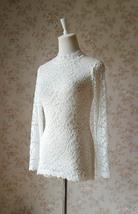 Women Retro Mock Neck Long Sleeve Floral Lace Blouse Wedding Bridesmaid Blouse image 2