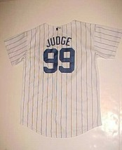 New York Yankees Aaron Judge #99 MLB AL YOUTH White Blue Pinstripes Jersey M - $22.76