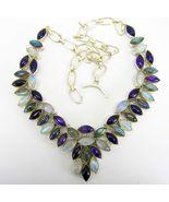 Blue Flash Labradorite + Moonstone and Purple A... - $352.32