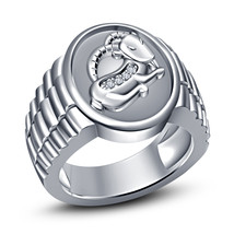 Men's Special ! Solid .925 Silver White GP With White CZ Zodiac Capricorn Ring 9 - £67.96 GBP