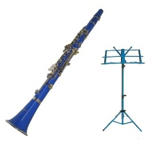 Merano B Flat Blue Clarinet with Carrying Case , Blue Music Stand - $95.00
