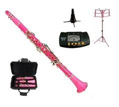 BB Pink Clarinet,Case , Pink Music Stand, Clarinet Stand, Metro Tuner - $179.99