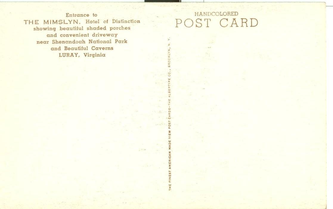 Entrance to The Mimslyn, Hotel of Distinction, Luray, Virginia, unused postcard