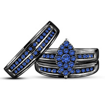 Mens & Womens Trio Ring Set Blue Sapphire 14K Black Gold Finish 925 Real... - $168.99