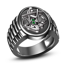 Men's Special Green Sapphire 925 Silver Black Rhodium Finished Libra Zodiac Ring - $86.85