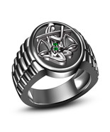 Men's Special Green Sapphire 925 Silver Black Rhodium Finished Libra Zod... - £70.31 GBP