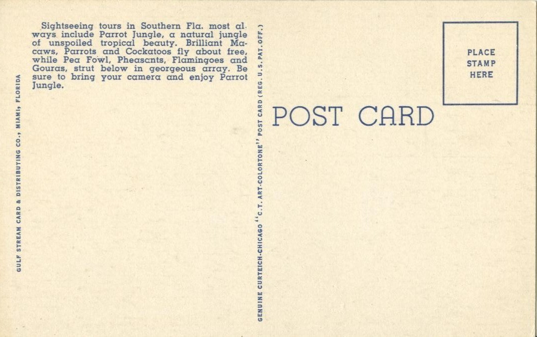 Entrance to the Parrot Jungle, Red Road, Miami, Florida, unused linen Postcard