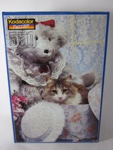 Kodacolor Lacy Ladies Jigsaw Puzzle Cat Teddy Bear Hat Box 550 Piece SEALED - $9.90