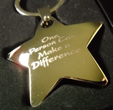 Positive Promotion Key Chain One Person Can Make A Difference Metal Star Boxed - $7.99