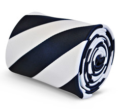 Frederick Thomas navy and white barber stripe tie FT3114
