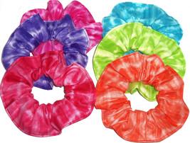 Hair Scrunchie Red Green Teal Purple Pink Tie Dye Fabric Scrunchies by S... - $6.99