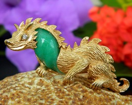 Vintage Dragon Brooch Pin Unsigned Marvella Green Cabochon Figural  - $54.95