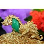 Vintage dragon pin brooch unsigned marvella green cabochon figural thumbtall