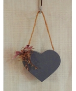 Wood wooden heart floral wall hanging decor plaque blue thumbtall