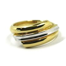 18K YELLOW WHITE GOLD BAND RING, TRIPLE TUBE, ROUNDED, BICOLOR image 4
