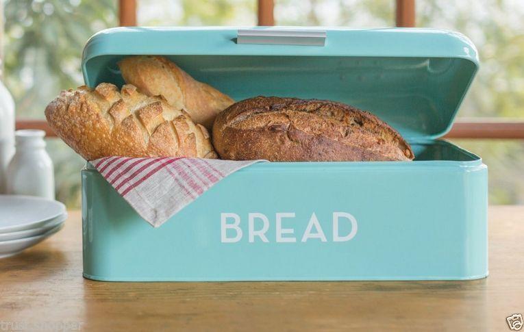 Retro Bread Box Storage Bin Kitchen Food Container Steel Metal Breadbox Aqua