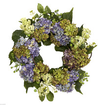 "Nearly Natural 22"" Colorful Hydrangea Wreath 4781 Artificial Home Decor - $72.99"
