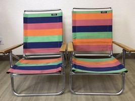 PAIR of Vintage Copa Beach Classic Aluminum Reclining Chairs Striped Col... - $69.00