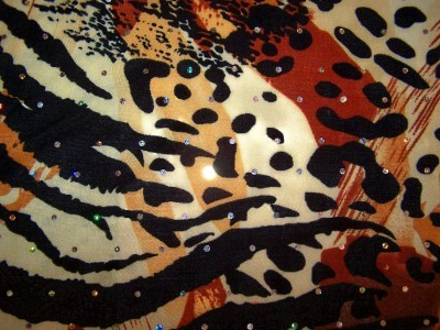 Earthtone Animal Print Hologram Sequin Dot Lycra Stretch Fabric 1 Yard 6 In